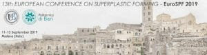 Read more about the article Exemplar is sponsor of the 13th European Conference on Superplastic Forming, 11-13 Sept 2019, Matera (Italy)